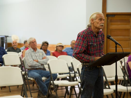 Chris Alexander, who identifies himself as a 10th-generation Mesilla resident, speaks against Mesilla becoming a colonia on Tuesday July 12, 2016 during a town hall meeting proposing a colonia designation for Mesilla.