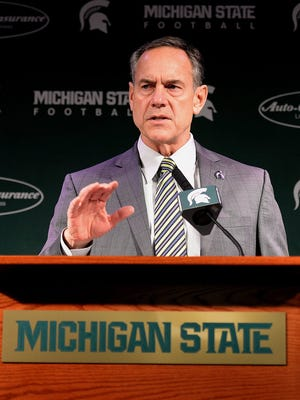 Spartans head coach Mark Dantonio speaks about recruits coming to Michigan State University Wednesday, Feb. 3, 2016 at Spartan Stadium during the press conference on National Signing Day.