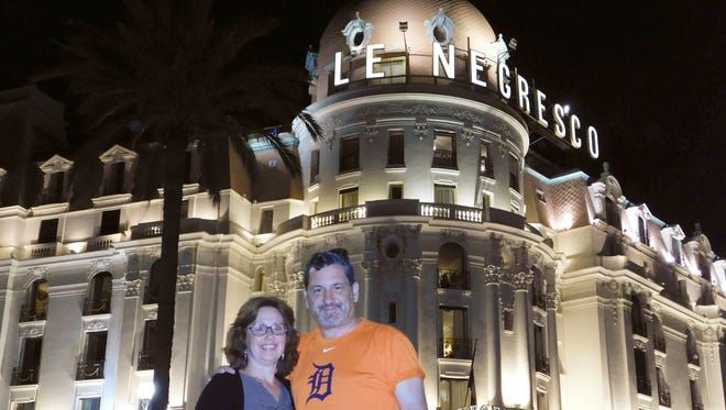 "Jennifer and Mark Nickita, husband and wife from Birmingham, took the D to ""Le Negresco"" a hotel along the Promenade des Anglais on the Mediterranean Sea in Nice, France. They were on the French Riviera in June 2017 to celebrate 30 years of marriage."