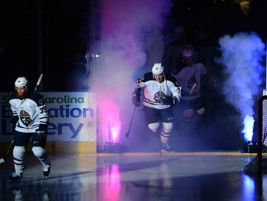 The Greenville Road Warriors host the Kalamazoo Wings during the ECHL playoffs Friday, April 25, 2014 at the Bon Secours Wellness Arena.