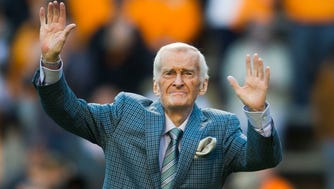 """""""Voice of the Vols"""" John Ward is recognized on the field during a game between Tennessee and Vanderbilt at Neyland Stadium in Knoxville, Tenn., on Saturday Nov. 25, 2017.during a game between Tennessee and Vanderbilt at Neyland Stadium in Knoxville, Tenn., on Saturday Nov. 25, 2017."""