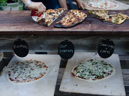 A selection of the featured pizzas just out and ready