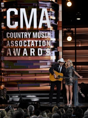 Co-hosts Brad Paisley and Carrie Underwood during their opening at the 2016 CMA Awards  Wednesday, Nov. 2, 2016, in Nashville, Tenn.