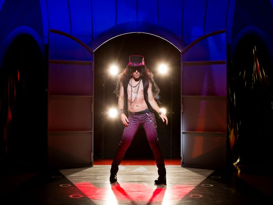 """Eric Sciotto plays a heavy-metal rock star turned Elvis impersonator in the Off-Broadway play """"Attack of the Elvis Impersonators,"""" showing through the end of the month."""
