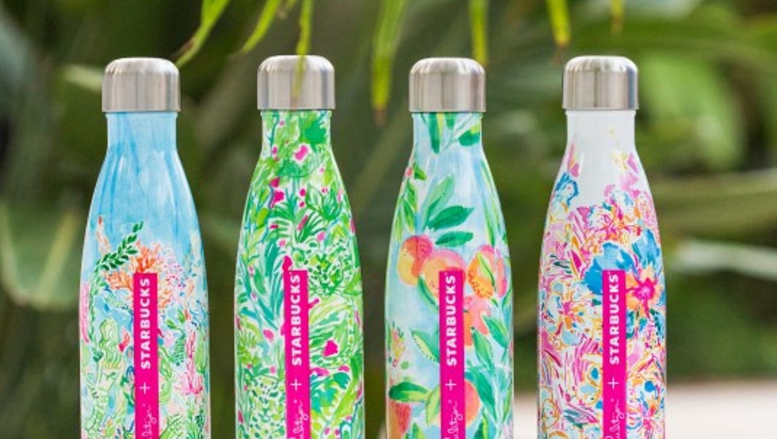 Lilly Pulitzer water bottles at Starbucks