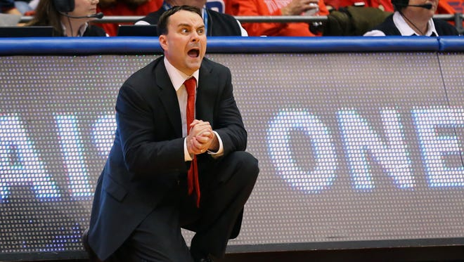 Dayton Flyers head coach Archie Miller reacts from the sidelines in the second half at the University of Dayton Arena in November of 2016.