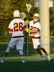 Salisbury University's Cross Ferrara (7) with the pass