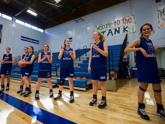 Port Aransas girls basketball team practices in their
