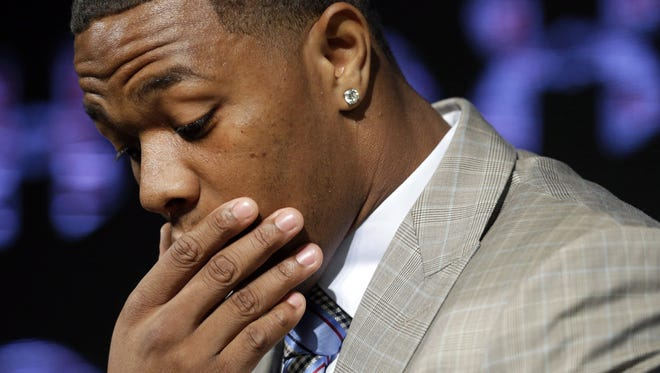 Baltimore Ravens running back Ray Rice pauses as he speaks during an NFL football news conference May 23 at the team's practice facility in Owings Mills, Md. Rice and his wife Janay spoke to the media for the first time since his arrest in the assault of his then-fiance at a casino in Atlantic City, N.J.