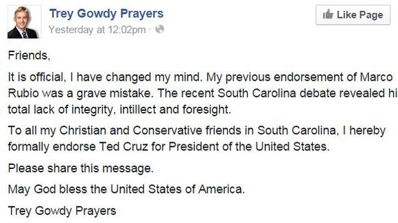 Gowdy is demanding that Ted Cruz repudiate this post.