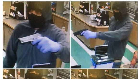Mantua Township Police are looking for a man who allegedly held up a Heritage's store on Woodbury-Glassboro Road on April 18, 2018.