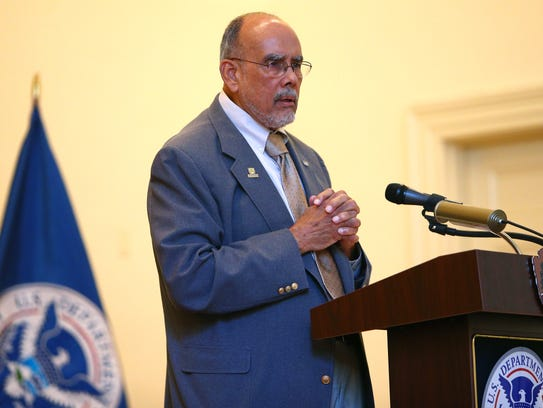 Keith Bodden gives the Keynote address during a Naturalization