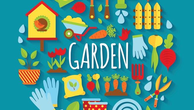 Illustration of Gardening icons set. Vector illustration