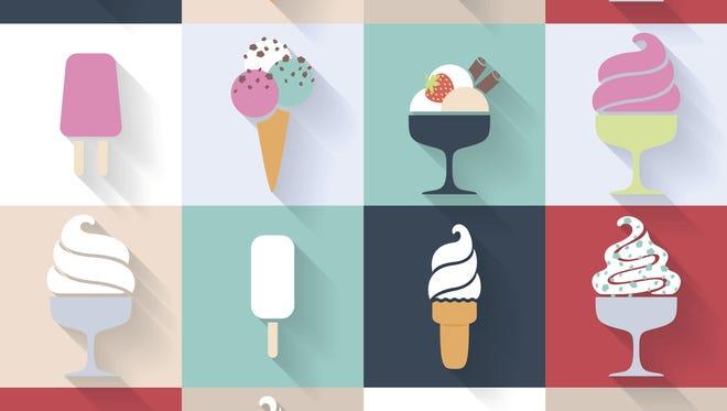 Ice cream icons set in flat style.