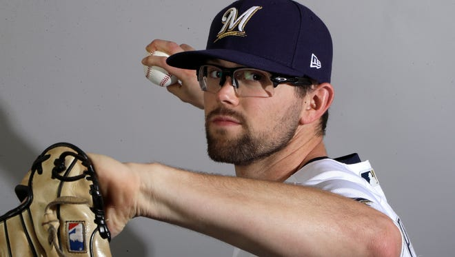 Brewers pitcher Jon Perrin poses for a photo at the start of spring training camp.