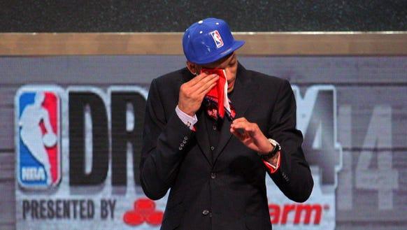 Isaiah Austin cries during NBA Draft 2014.