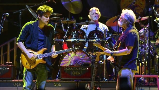 John Mayer, Bill Kreutzman and Bob Weir of Dead & Company play Oct. 31 at Madison Square Garden in New York City.