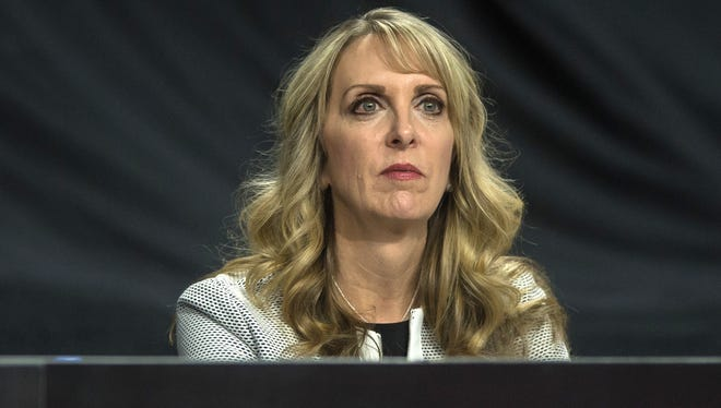 USA Gymnastics President Kerry Perry watches during a meet held at the Sears Center.