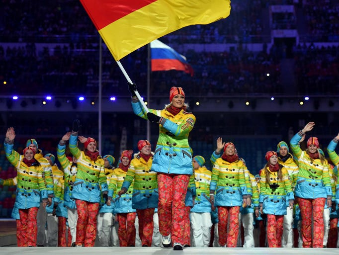 Best: Germany. The Germans' rainbow ensemble, a thinly veiled political statement, brightened up the Parade of Nations. Also, points for being one of the few countries to not dress exactly like their flag.