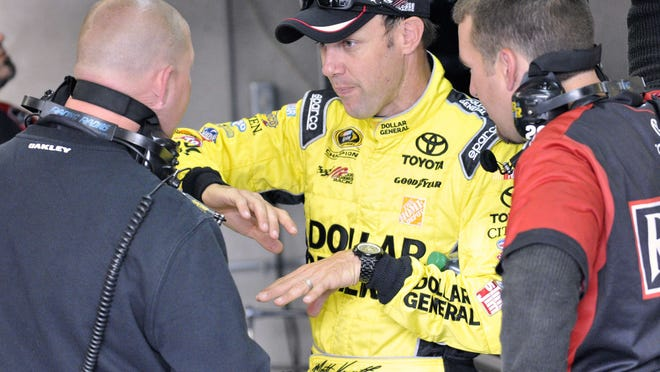 Veteran Matt Kenseth discusses the first Nationwide practice at the Indianapolis Motor Speedway on July 25, 2014.