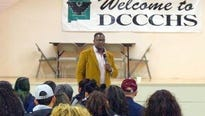 Brian Jones, a former National Football League player, visited with students at Deming Cesar Chavez Charter High School