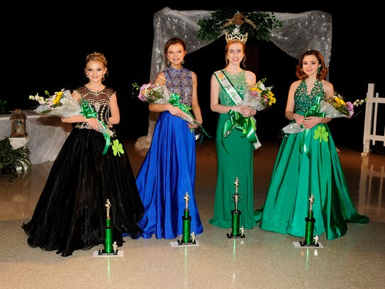 Winners in the Junior Miss 13-14 age group are, from