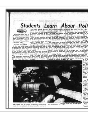 "A story, ""Students Learn About Police By Doing The Beat,"" from the Feb. 10, 1971 Poughkeepsie Journal which featured Bill O'Reilly as a Marist senior going on a ride along with the Town of Poughkeepsie Police"