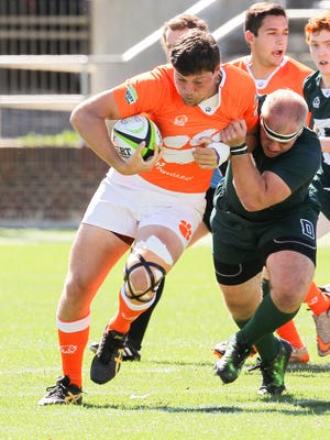 Clemson rugby player Jason Damm during a rugby match with Dartmouth at Riggs Field in Clemson on Saturday, April 8, 2017.