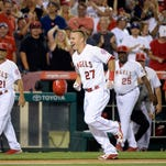 Los Angeles Angels center fielder Mike Trout (27) reacts