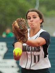 St. Thomas More's Whitney Romero delivers a pitch against South Terrebonne in the second inning of the Cougar's 9-0 shutout in the Class 4A playoffs in Lafayette April 18, 2016.