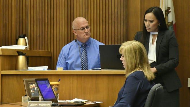 Defense attorney JudyAnne Rogado questions retired Visalia Detective Ken Smythe on June 11, 2018.