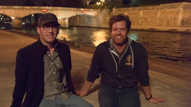 """Writer/producer Drew Dowdle, left, and writer/director John Erick Dowdle on the set of   """"As Above, So Below."""""""