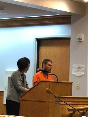Tyler Atkinson appears in court for his initial appearance on July 31, 2018.