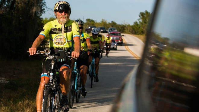 James Guzi, 72, leads a group of riders on Day One of the Pan-Florida Challenge on March 11, 2017. More than 100 participants rode from Fort Myers to Fort Pierce over two days to raise money to feed hungry kids in Florida.