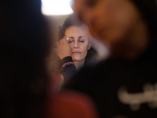 """Wetware"" actress, Jessica Blank (right) undergoes makeup before filming, Friday, at the ECHO Center in Burlington."