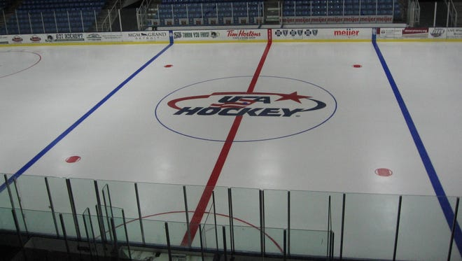 USA Hockey logo at center ice.