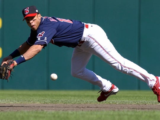 Roberto Alomar with the Cleveland Indians in 2001 (AP Photo/The Repository, Scott Heckel)