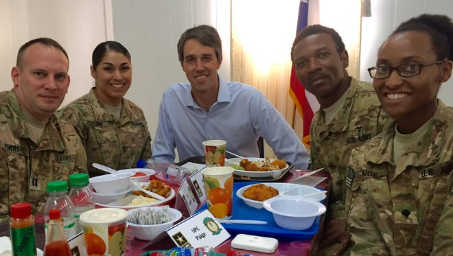 U.S. Rep. Beto O'Rourke, D-El Paso, with service members in Kuwait, including Sgt. First Class Maria Luisa Gulley from El Paso to his right.