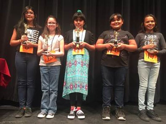 Winners in the Cobre District Spanish Spelling Bee on Tuesday included, from left, Zara Dalton-Torres, Olivia Rodriguez, Analiza Gavaldon, Maya Tovar and Destiny Abalos.