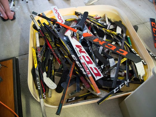 """Broken hockey sticks are used to build oyster beds in the """"Rink 2 Reef"""" program at the Florida Gulf Coast University Vester MarineÊand Environmental Science Research Field Station in Bonita Springs. The program focuses on oyster reef restoration."""