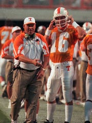 An undated photograph of Tennessee coach Phillip Fulmer and quarterback Peyton Manning.