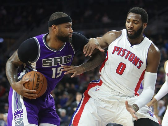Pistons center Andre Drummond defends Kings center