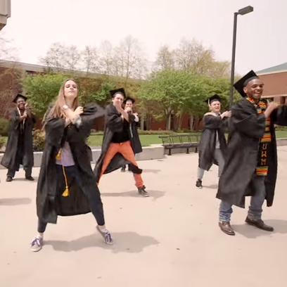 "UW-Milwaukee students dance to Justin Timberlake's ""Can't Stop the Feeling"" to celebrate graduation."