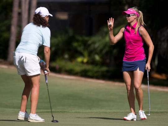 California native Ryann O'Toole waves to the crowd after sinking a putt during the CME Group Tour Championship at Tiburon Golf Club Friday, Nov. 18, 2016 in Naples. O'Toole finished the second round tied for second place with a score of 9-under par.