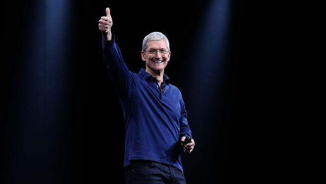 Apple CEO Tim Cook delivers the keynote address during Apple WWDC in San Francisco.