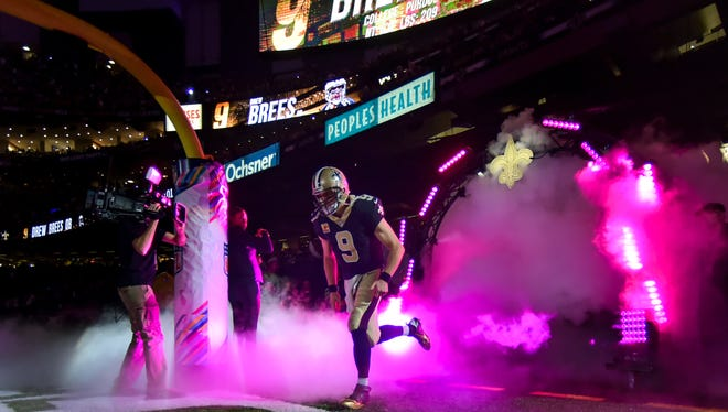 Saints quarterback Drew Brees takes the field as the New Orleans Saints take on the Detroit Lions in the Mercedes-Benz Superdome. Sunday, Oct. 15, 2017.