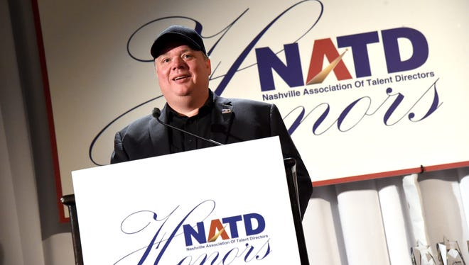 Kirt Webster, honoree and CEO/president of Webster PR, speaks onstage during the National Association of Talent Directors honors gala Nov. 9, 2015, in Nashville. Webster on Wednesdaystepped away from his company in the wake of allegations against him.