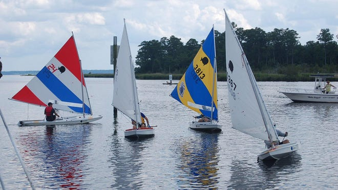 The Fairfield Harbour Yacht Club spring sunfish series presents a colorful view on the waters in Northwest Creek.