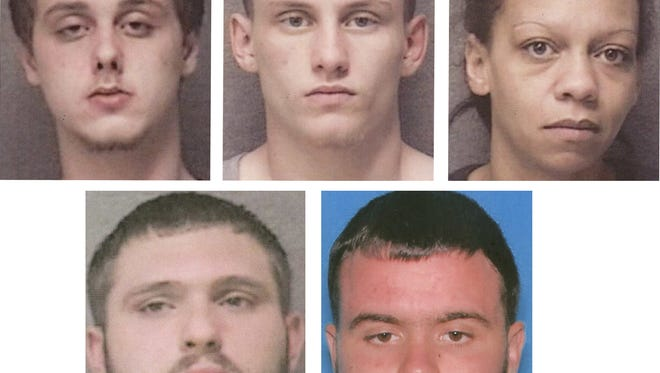 Clockwise from upper left, Mason O'Neal and Marcus Wilson II, both facing murder and robbery charges in a Sunday homicide; Kaylee Jones and Zacrey Antrim, accused of helping Wilson hide from police, and Zachary Buck, the brother of a co-defendant in the murder case who faces unrelated charges.
