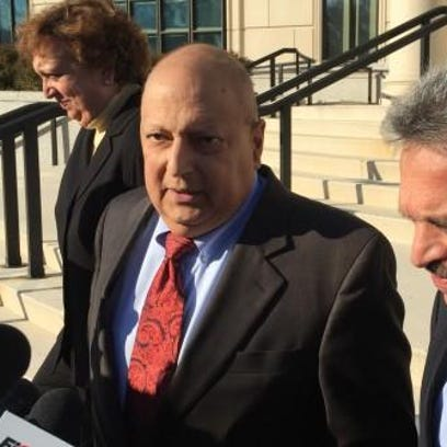 Former Sen. Thomas Libous talks to reporters Tuesday